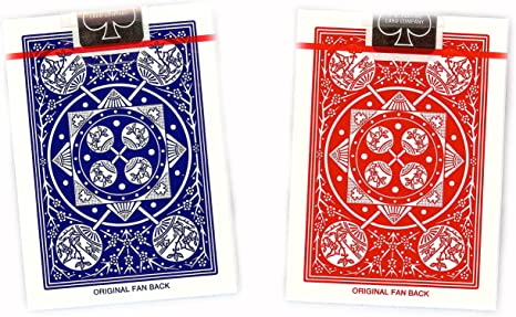 2 DECKS OF TALLY HO No 9 ORIGINAL FAN BACK PLAYING CARDS RED AND BLUE