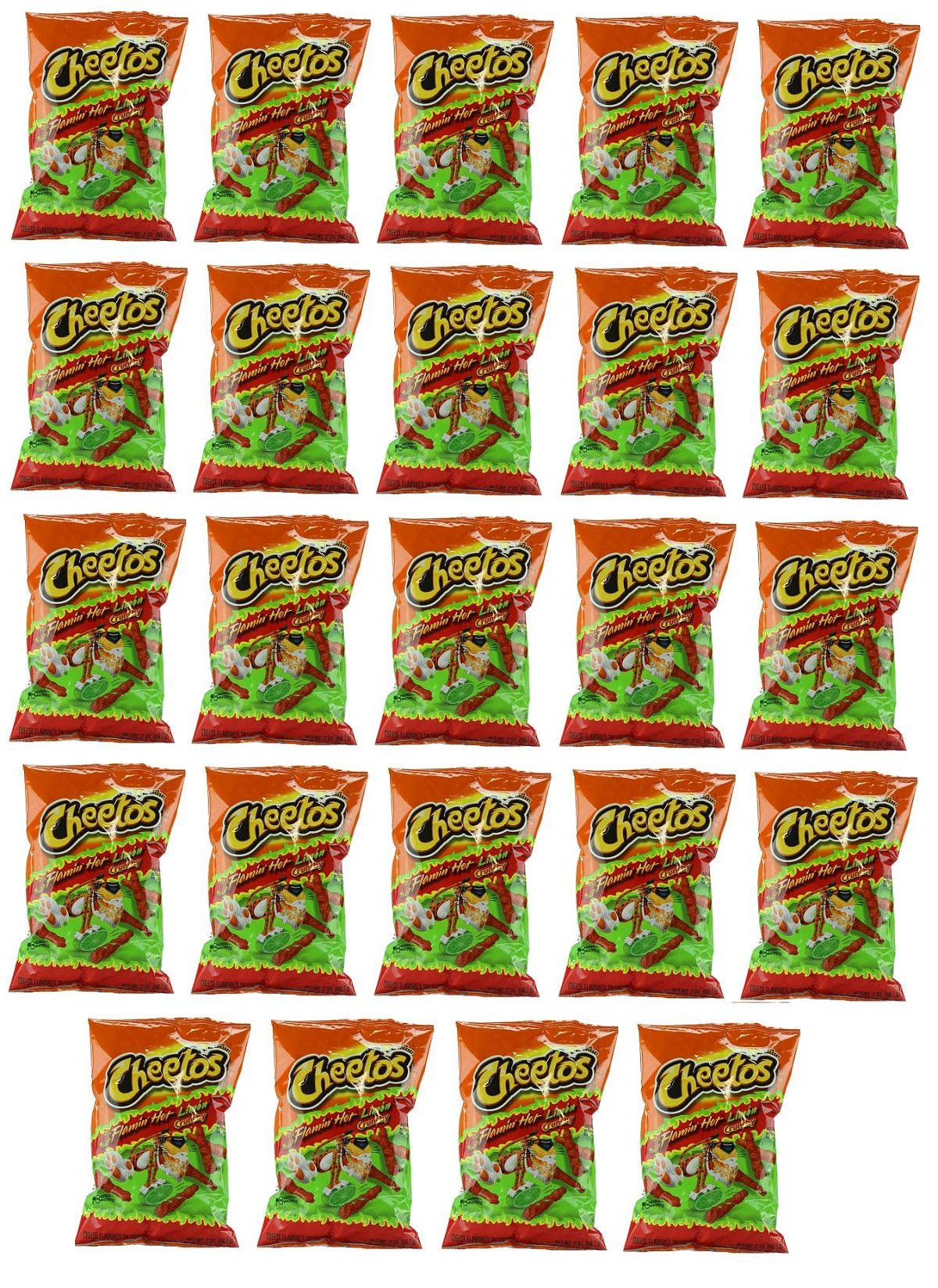 Delicious Treats Cheetos Crunchy Flamin Hot Limon 24 Bags of 2 Oz - Tj13