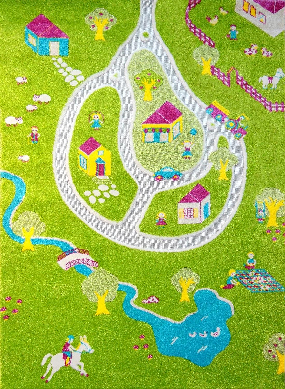 Little Helper LHB101MD011SR13182-G, IVI Hypoallergener Dicker 3D-Kinderspielteppich, Farbenfrohes Bauernhofdesign mit dreidimensionalem Teich und Straßen, 134 x 180 cm, gelb Mehrfarbig