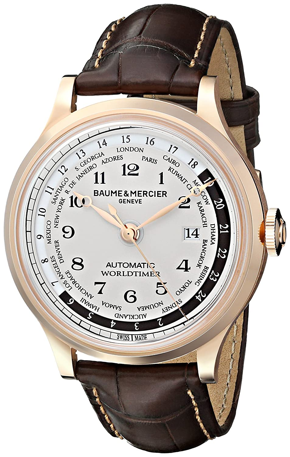 Baume Mercier Men s A10107 Capeland Rose Gold Automatic Watch with Brown Leather Band