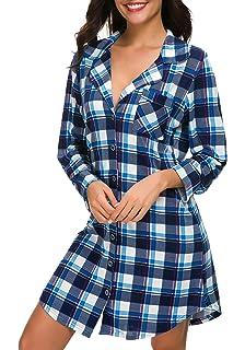 783ea9aacd NORA TWIPS Women Long Sleeve Pajama Top Buttom Down Sleep Shirt Dress (XS-XL