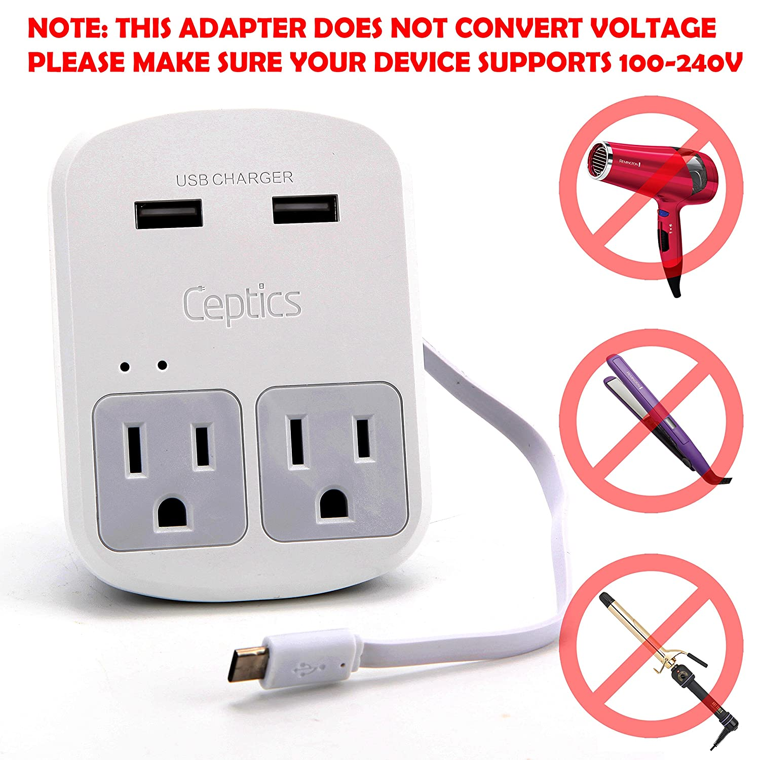 Amazon.com: Ceptics World Travel Adapter Kit - 2 USB + 2 US Outlets ...