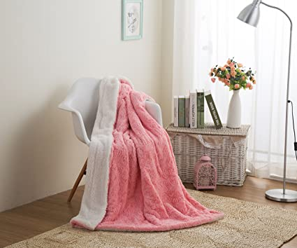 ... Throw Blanket - Lap Fluffy Cuddly Rose Buds Soft Faux Fur Sherpa - Warm  Plush Textured for Lap or Sofa - Bright Vibrant Blushing Rosey Baby Pink    White ... 9f50f48f7