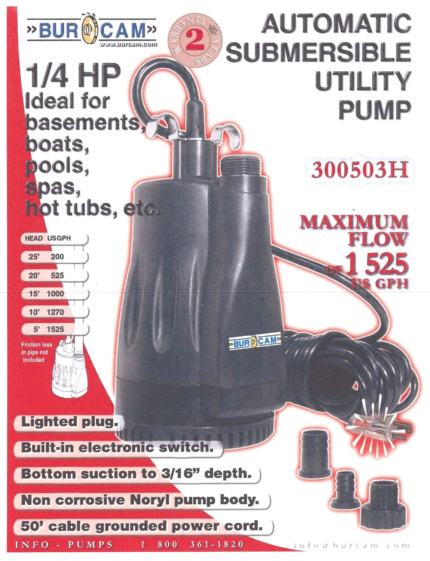 BurCam 300503H Automatic Submersible Utility Pump, 25 GPM, 1''