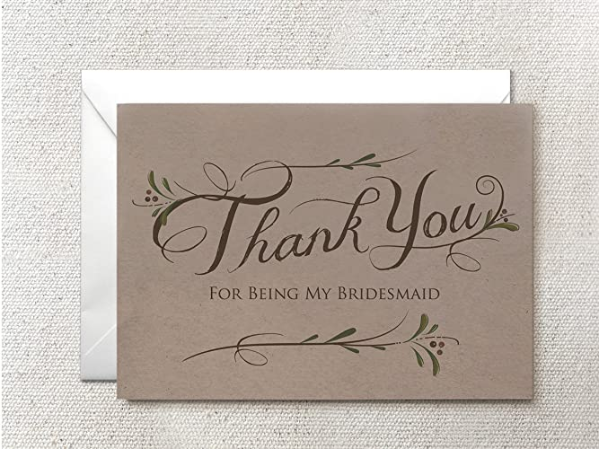 Amazon Com Set Of 5 Thank You For Being My Bridesmaid Card
