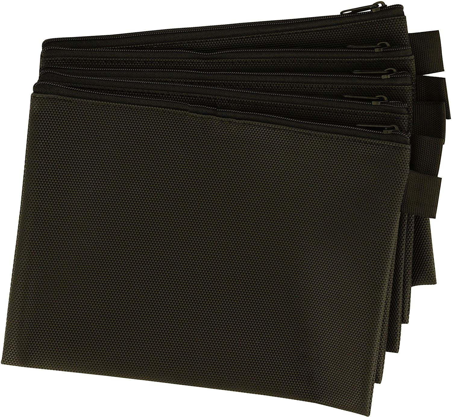 Zipper Bag - Set Of 5 - Carry All Pouch To Organize Travel Toiletries Pens Cosmetics (Black, 8 x 6 Inch)