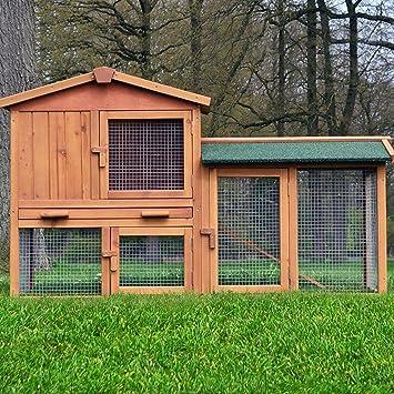 7b5b7723952439 Zooprimus Cage Clapier Enclos lapin Extérieur en bois de pin Haute Qualité  145x53x86 cm Villa Lapin