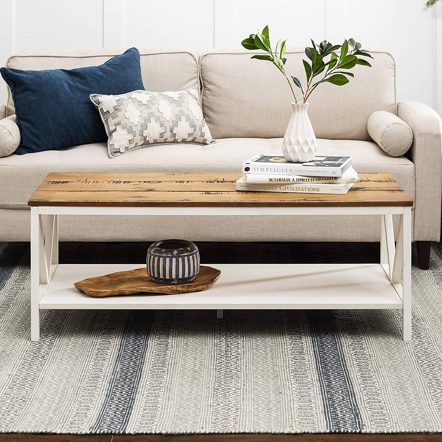 - Amazon.com: New 48 Inch Distressed Farmhouse Coffee Table With White Wash  Finish: Kitchen & Dining