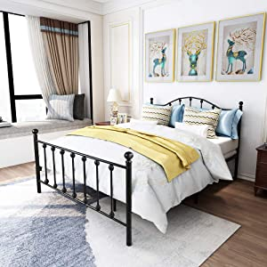 Metal Bed Frame Queen Size with Vintage Headboard and Footboard Platform Base Wrought Iron Bed Frame No Box Spring Needed, (Queen, Black)
