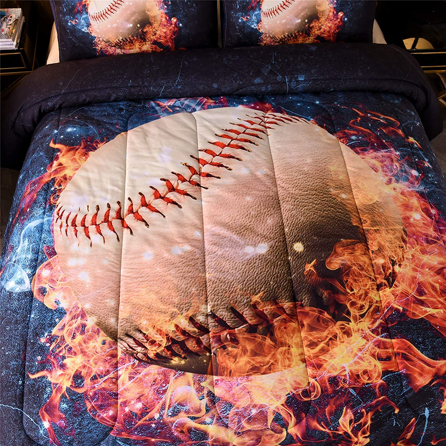 A Nice Night Baseball with Fire Comforter Set ,3D Sports Themed Microfiber Bedding Set,Gifts for Boys Girls Teens