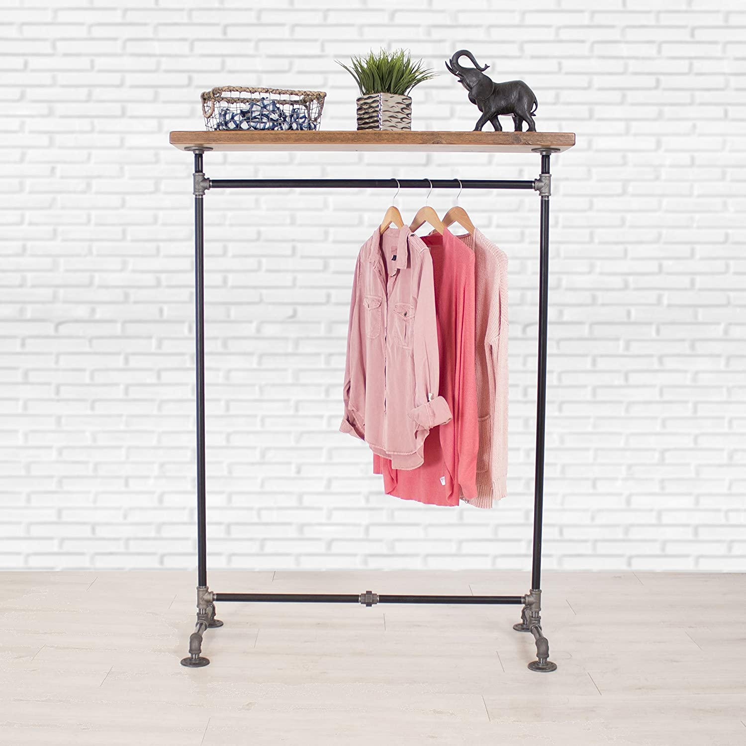 Industrial Pipe Clothing Rack with Cedar Wood Top Shelving by William Robert's Vintage