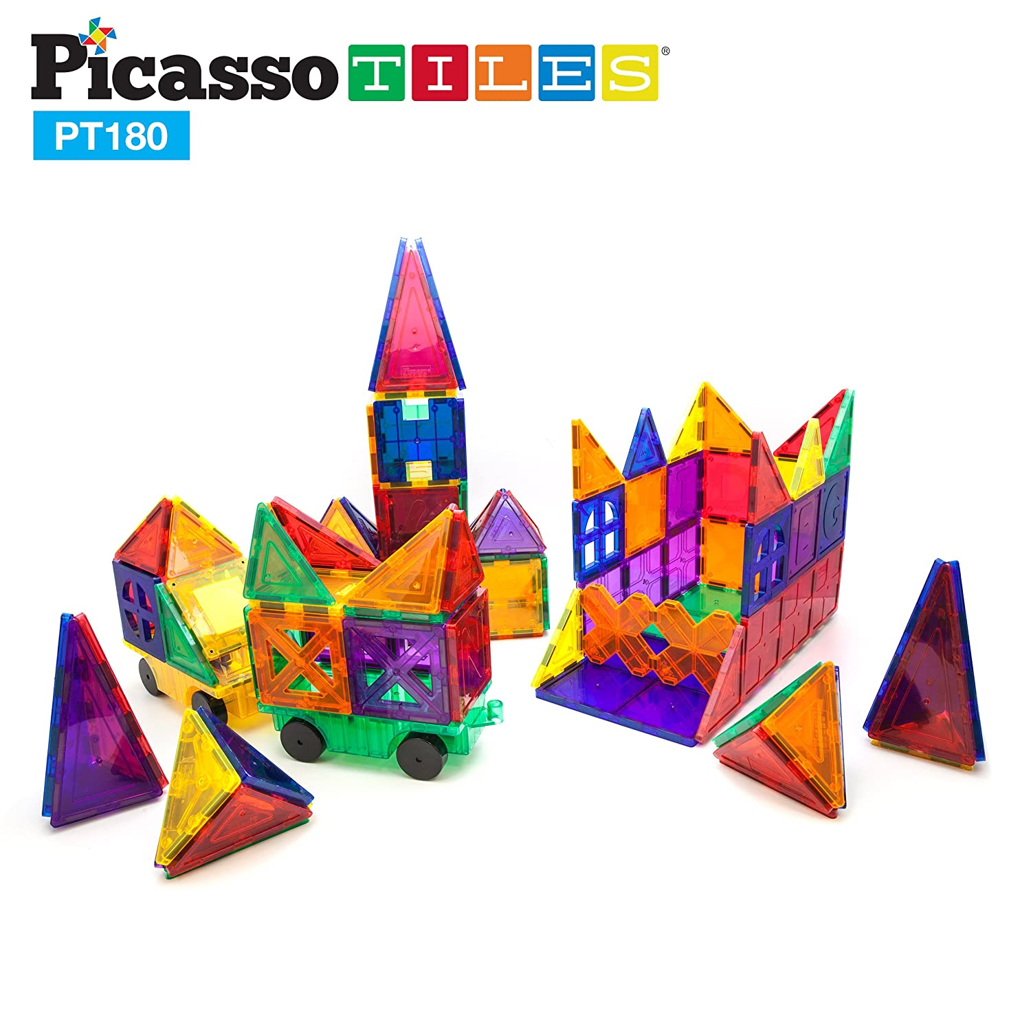 PicassoTiles 180 Piece Set 180pc Building Block Toy Deluxe Construction Kit Magnet Building Tiles Clear Color Magnetic 3D Construction Playboards Educational Blocks Creativity Beyond Imagination Review