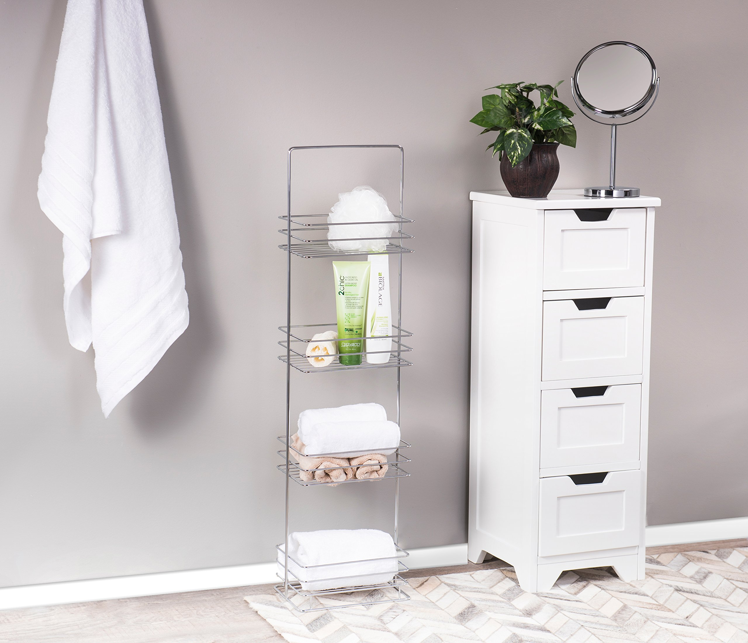 AMG and Enchante Accessories Free Standing Bathroom Spa Tower Storage Caddy, FC100002 CHR, Chrome by AMG (Image #2)