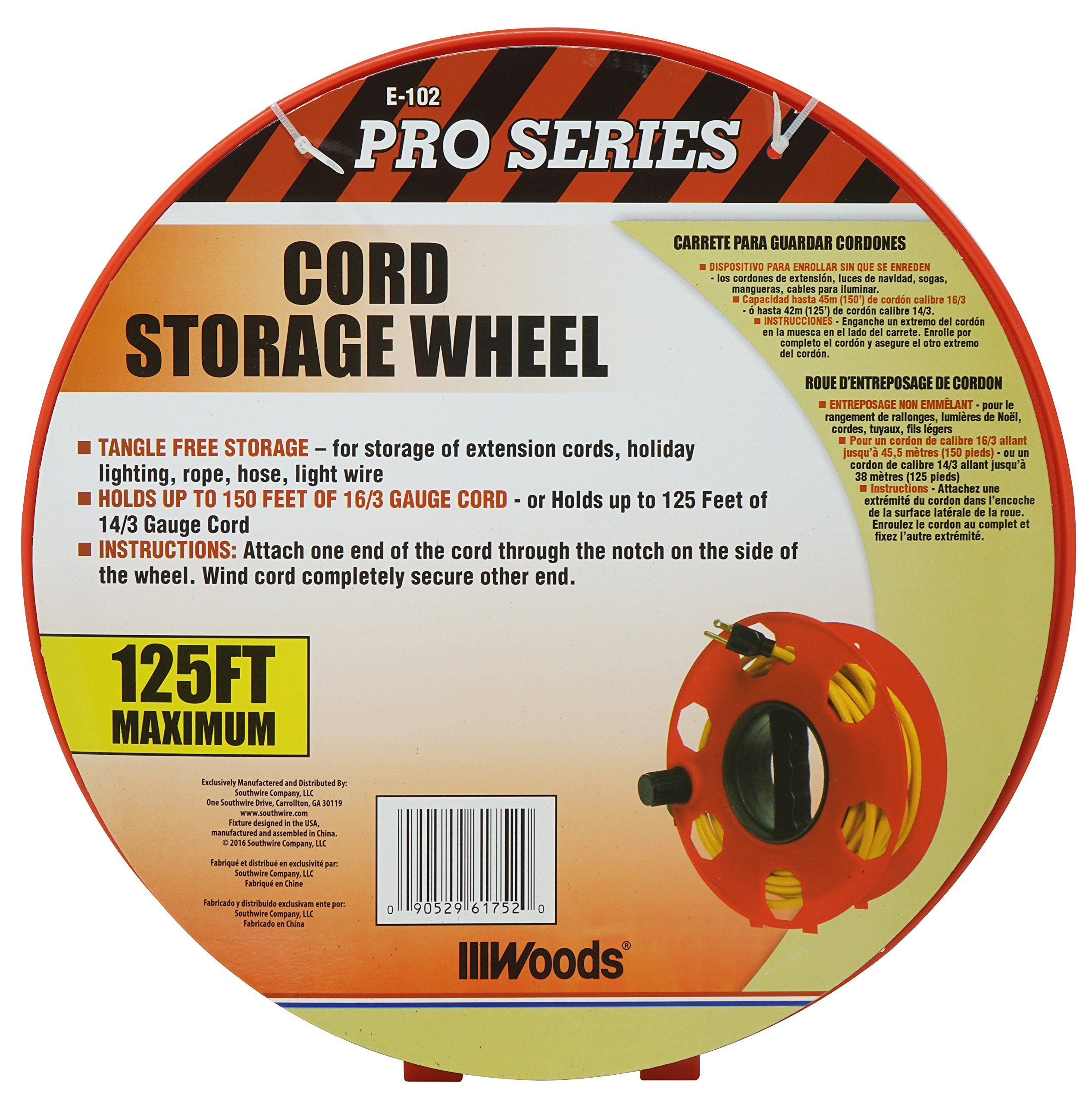 Woods E-102 Heavy Duty Cord Storage Wheel, 125-Foot