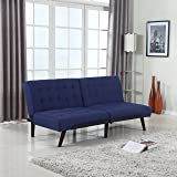 Modern Tufted Linen Splitback Recliner Sleeper Futon Sofa (Blue)