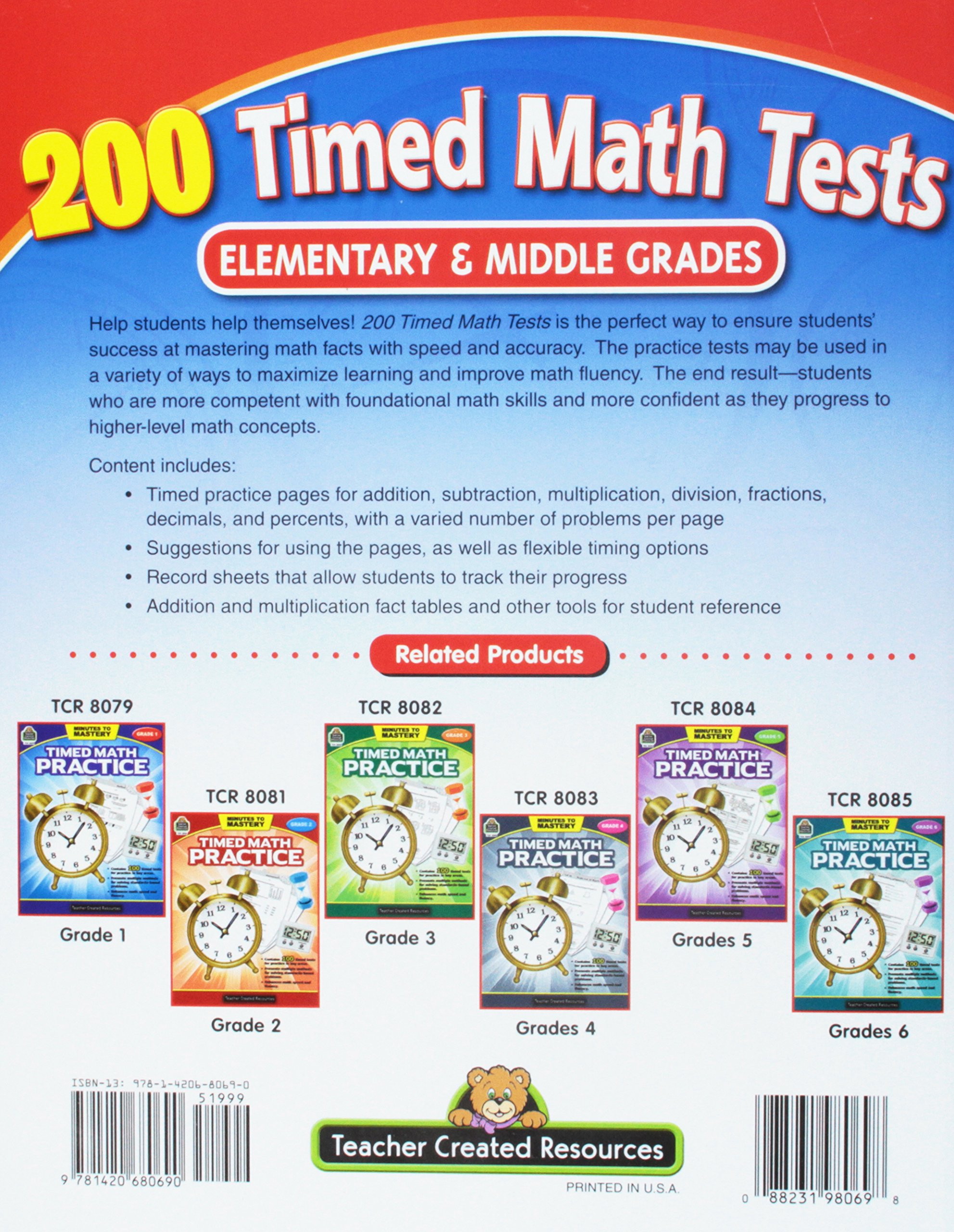 Amazon.com: 200 Timed Math Tests: Elementary to Middle Grades ...