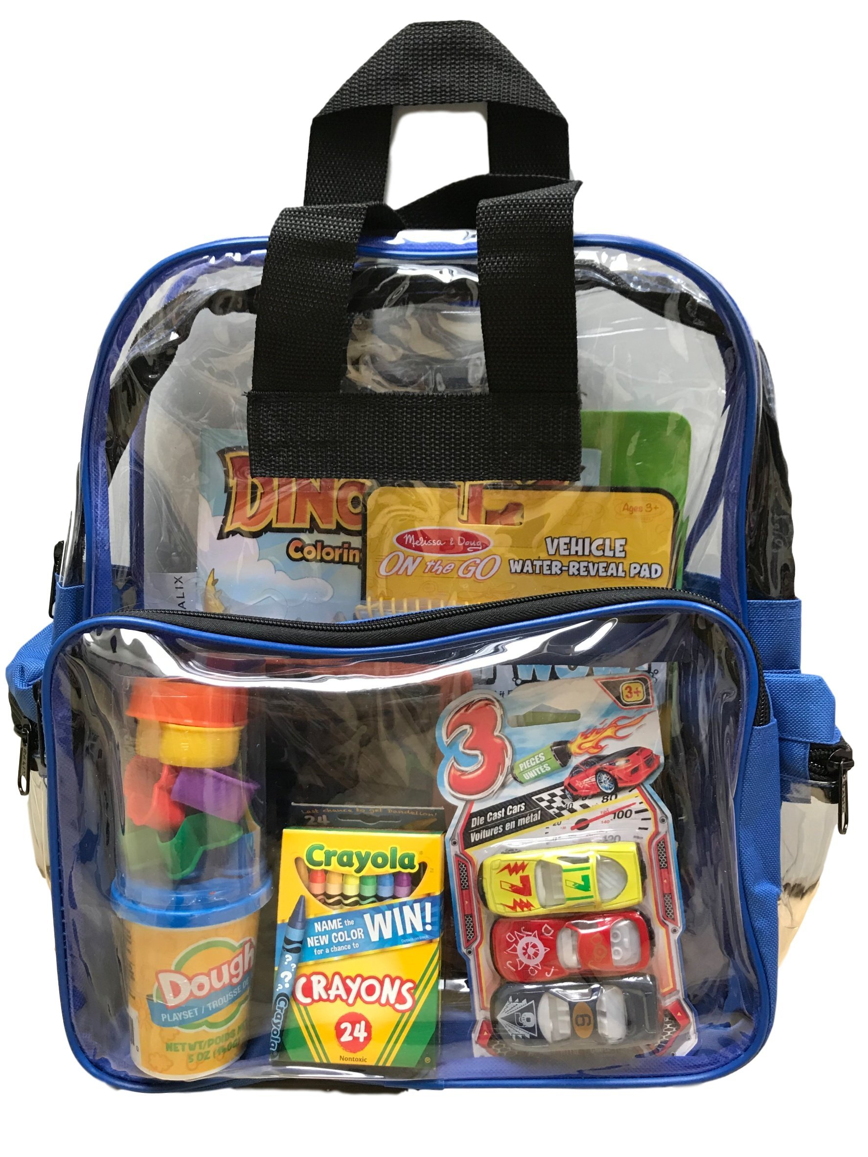 BusyBags - Activity Travel Bags Kids - Hours Quiet Activities - Durable See Through Backpack - Keep Your Kids Busy on Airplanes, roadtrips, Waiting at restuarants, etc. - Boys