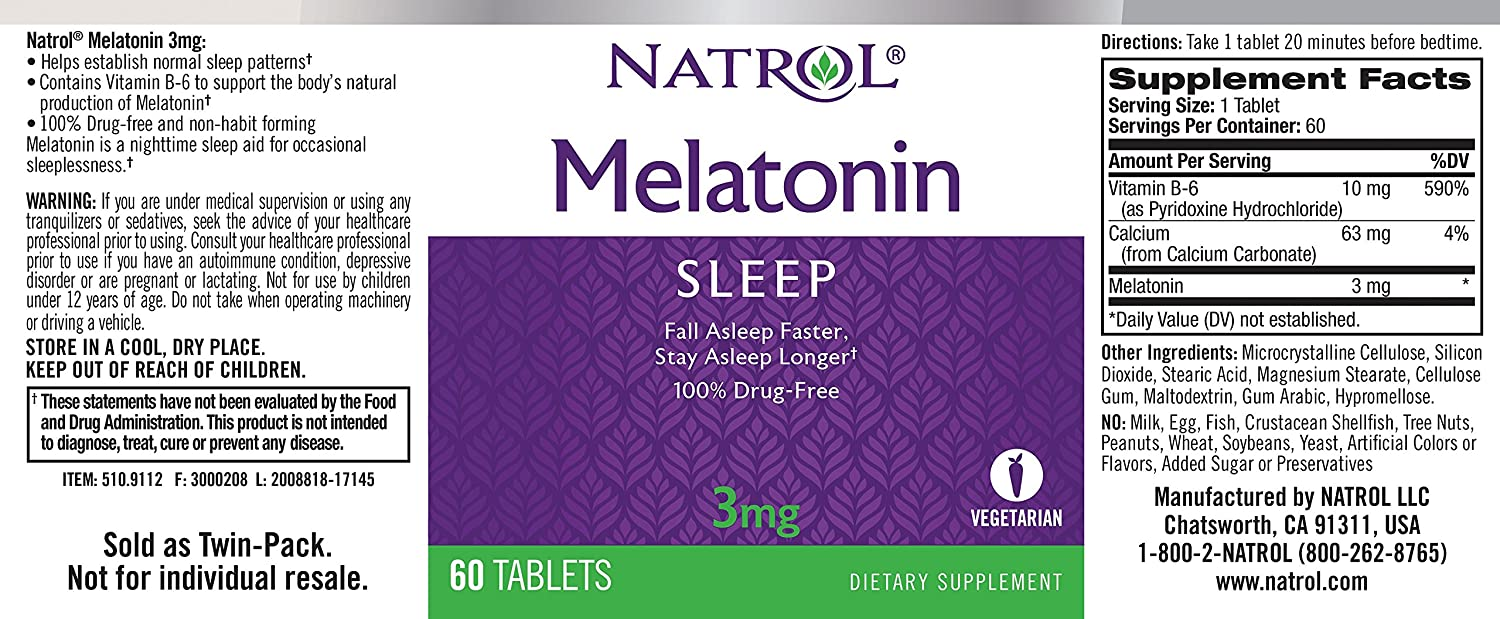 Amazon.com: Natrol Melatonin Tablets 3mg, 60 Tablet Bottle: Health & Personal Care