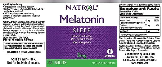 Amazon.com: Natrol Melatonin Tablets 3mg, 60 Tablet Bottle: Health & Personal Care