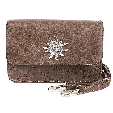 Trachtentasche Tasche für Tracht Dirndl mit Edelweiß braun Umhängetasche