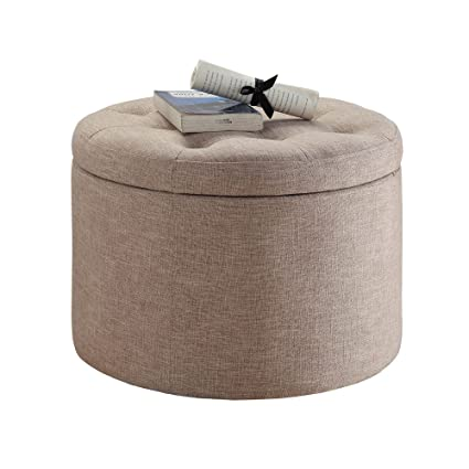 Pleasant Amazon Com Round Storage Ottoman Tufted Fabric Shoe Holder Caraccident5 Cool Chair Designs And Ideas Caraccident5Info