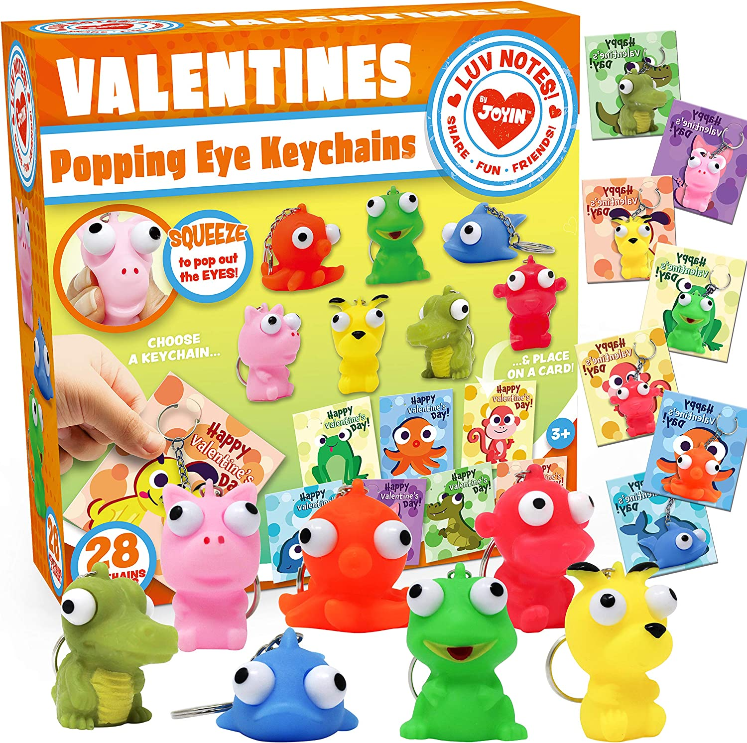 28 Packs Valentine's Day Gift Card with Popping Eyes Animal Keychains for Kids Party Favor, Classroom Exchange Prizes, Valentine's Greeting Cards including popping eye animal keychains