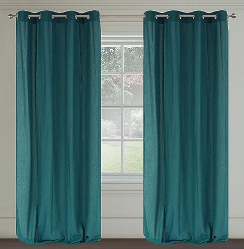 LJ Home Fashions 308 Maestro Linen Look Grommet Curtain Panels Set of 2 54″ W x 95″ L