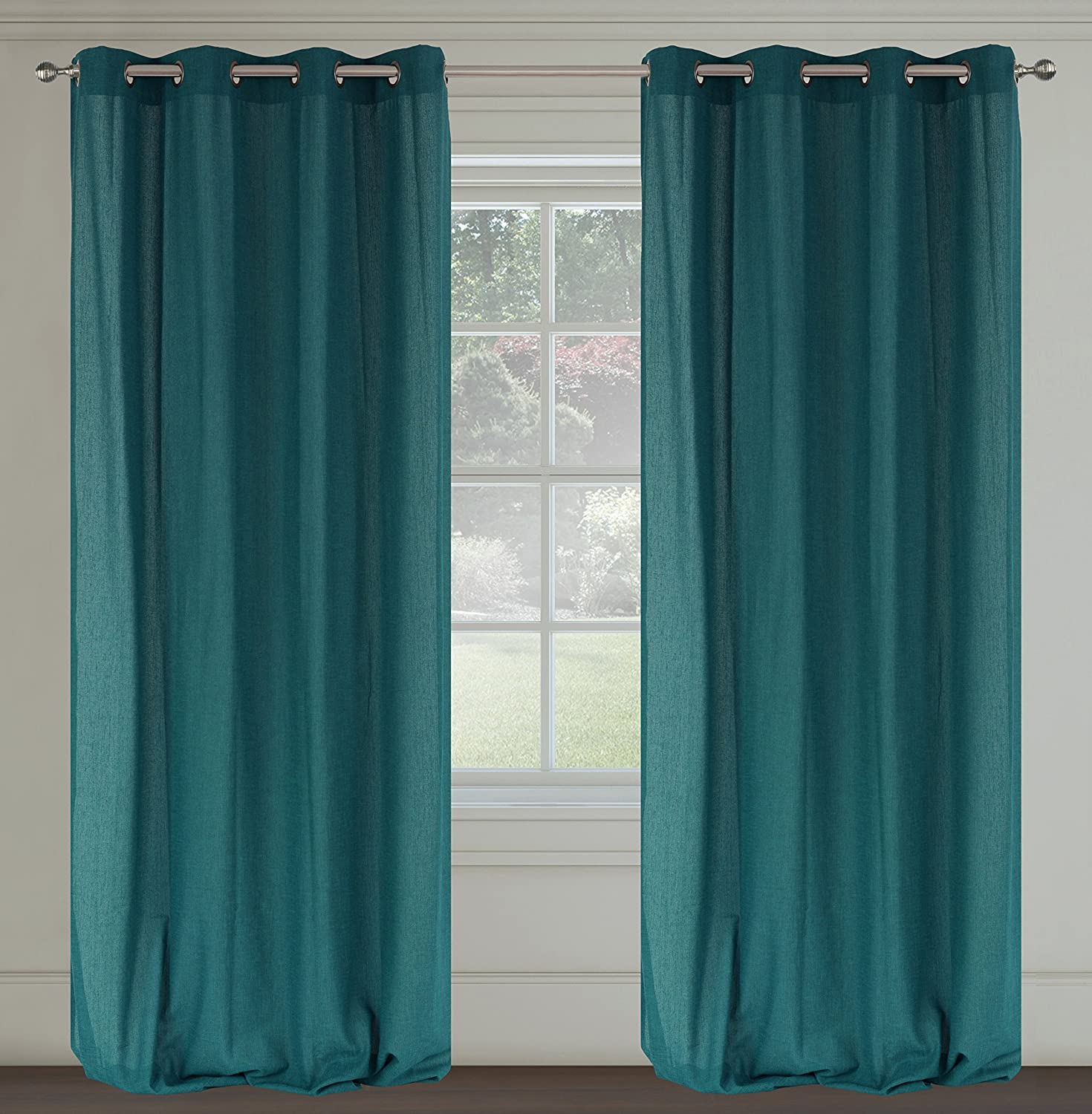 Amazon.com: Maestro Linen-Look Grommet Curtain Panels (Set of 2 ...