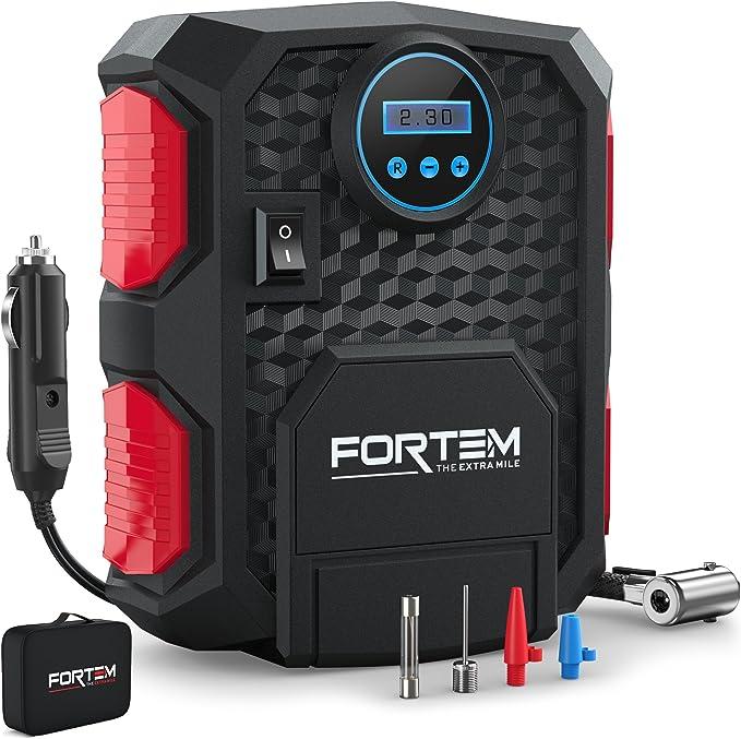 FORTEM Digital Tire Inflator for Car w/Auto Pump/Shut Off Feature, Portable Air Compressor