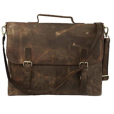 15 Inch Men's Messenger Bag, Vintage Genuine Leather Large Satchel Shoulder Bag Leather Computer Laptop Bag, Tablet Messenger Bag