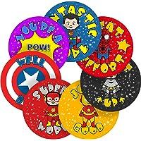 Superhero Comic Reward Sticker Labels, 70 Stickers @ 2.5cm, Glossy Photo Quality, Ideal for Children Parents Teachers Schools Doctors Nurses Opticians Pupils Classrooms Merit Motivation Praise