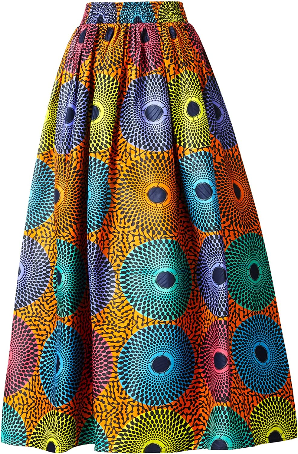 Women African Traditional Costume Ankara Print Skirt Dashiki Long Skirts