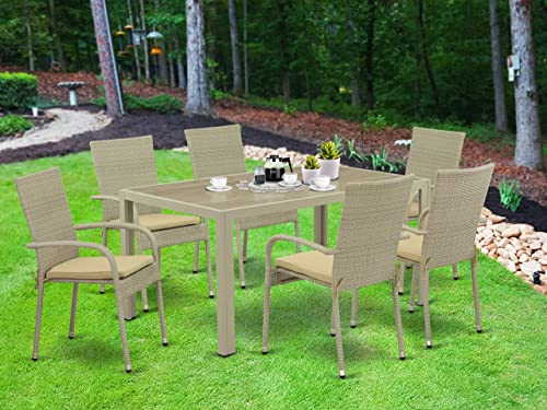 East West Furniture JUGU703A 7Pc Outdoor Natural Color Wicker Dining Set Includes a Patio Table and 6 Balcony Backyard Armchair
