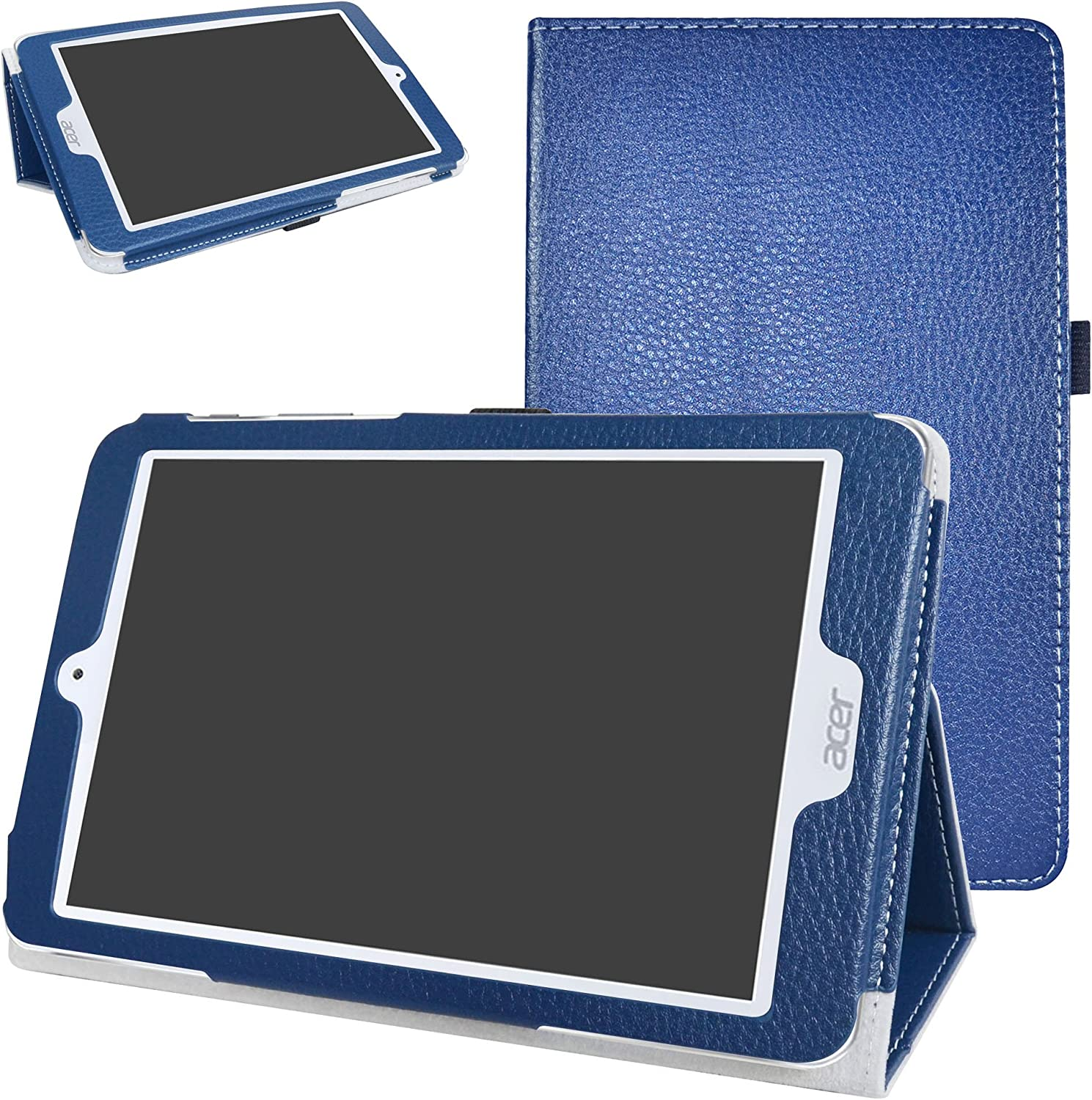 "Acer Iconia One 8 B1-860 Case,Mama Mouth PU Leather Folio 2-Folding Stand Cover with Stylus Holder for 8.0"" Acer Iconia One 8 B1-860 Android Tablet,Dark Blue"