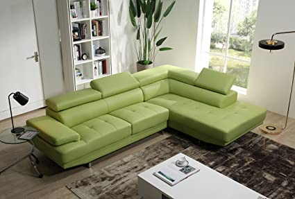 Amazon.com: Mia Leather Sectional (Apple Green): Kitchen ...