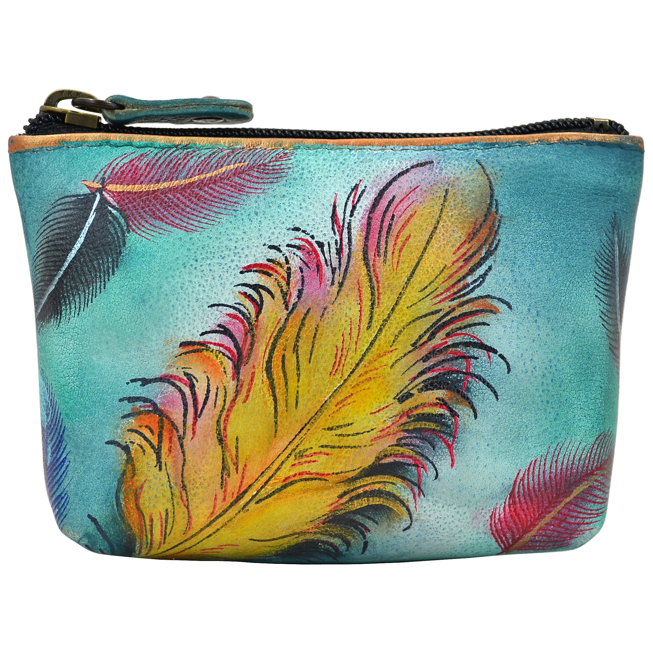 Anuschka Women's Hand Panted Coin Pouch Floating Feathers Purse, One Size