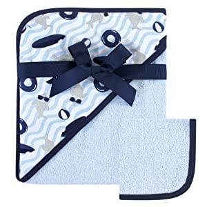 Hudson Baby Unisex Baby Cotton Hooded Towel and Washcloth, Shark, One Size