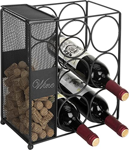 MyGift 6-Bottle Black Wire Wine Rack