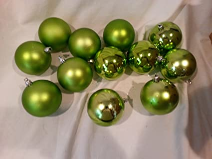 set of 12 shiny and flat variety green christmas bulb ornaments 45 inches plastic