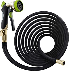 "Nifty Grower 50ft Garden Hose - All New Expandable Water Hose with Double Latex Core, 3/4"" Solid Brass Fittings, Extra Strength Fabric - Flexible Expanding Hose with Metal 8 Function Spray Nozzle"