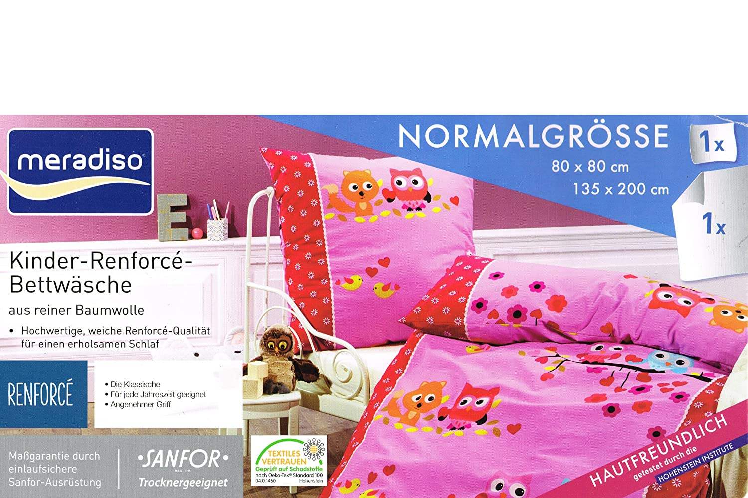 Meradiso Kinder Renforce Bettwäsche Set Normalgröße 135 X 200 Eule