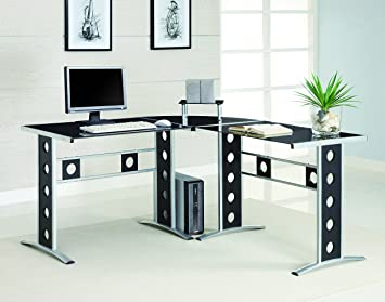 Amazon.com: Coaster L-Shaped Computer Desk, Black: Kitchen & Dining