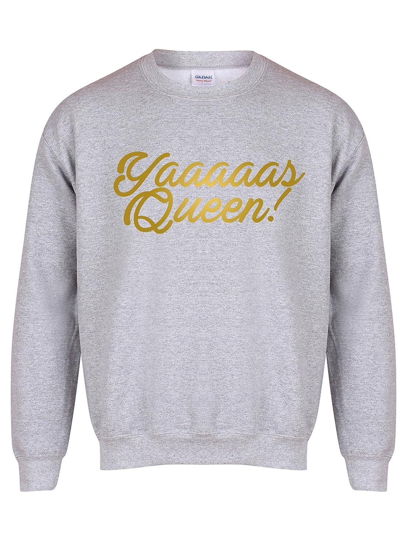 Kelham Print Yaaaaas Queen! - Unisex Fit Sweater - Fun Slogan Jumper: Amazon.es: Ropa y accesorios
