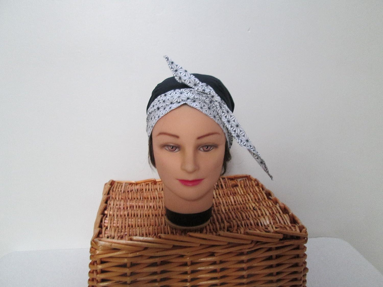 Foulard, turban chimio, bandeau pirate au féminin noir à pois gris et beige