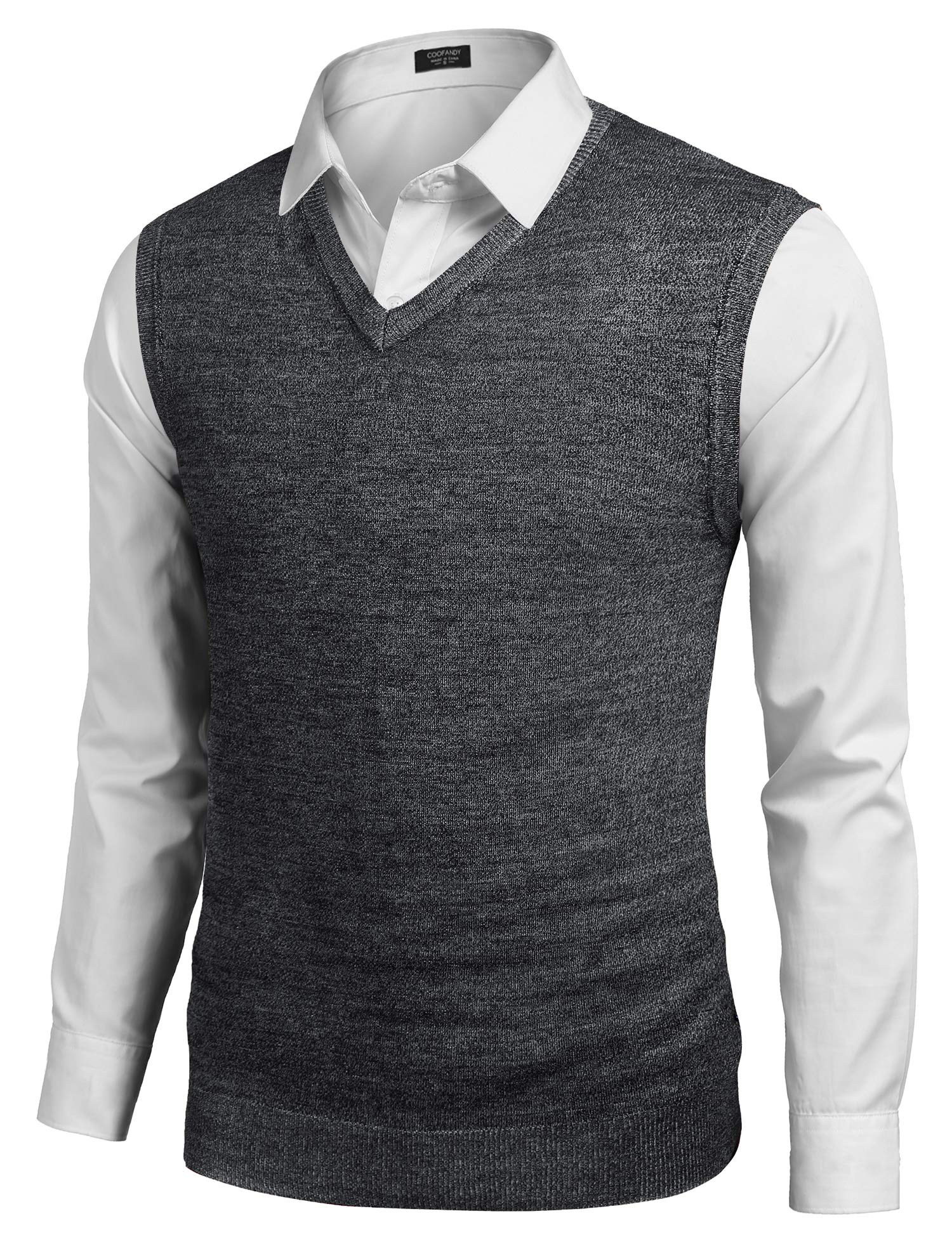 COOFANDY Mens Plain Sweater Vest Casual Slim fit Sleeveless Knit Vest Pullover Black by COOFANDY