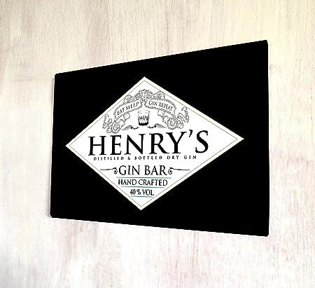 personalised gin eat sleep gin label black bar a4 metal sign