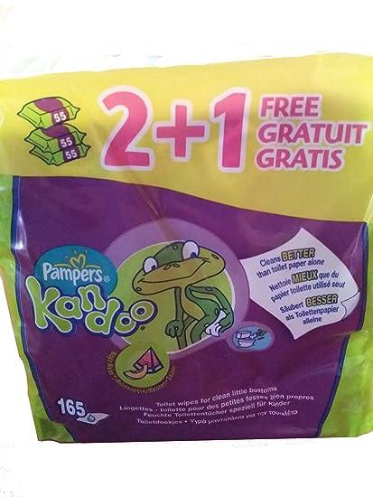 Pampers Kandoo Se pueden echar al inodoro Water Toallitas 3 paquetes de 55 toallitas - Total