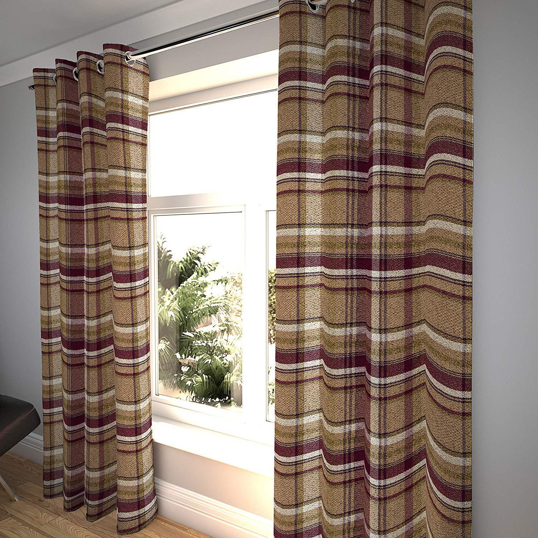 Amazon.com: McAlister Textiles Luxury Heritage Country Curtains (2 Panels)  | Plaid Striped Window Treatments 52x63 | Burnt Orange Drapes: Home &  Kitchen