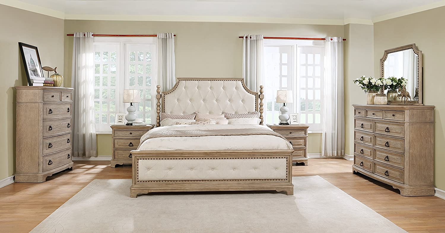 Roundhill Furniture B296KDMN2C Piraeus 296 Solid Wood Construction Bedroom Set with King Size Bed, Dresser, Mirror, Chest and 2 Night Stands,