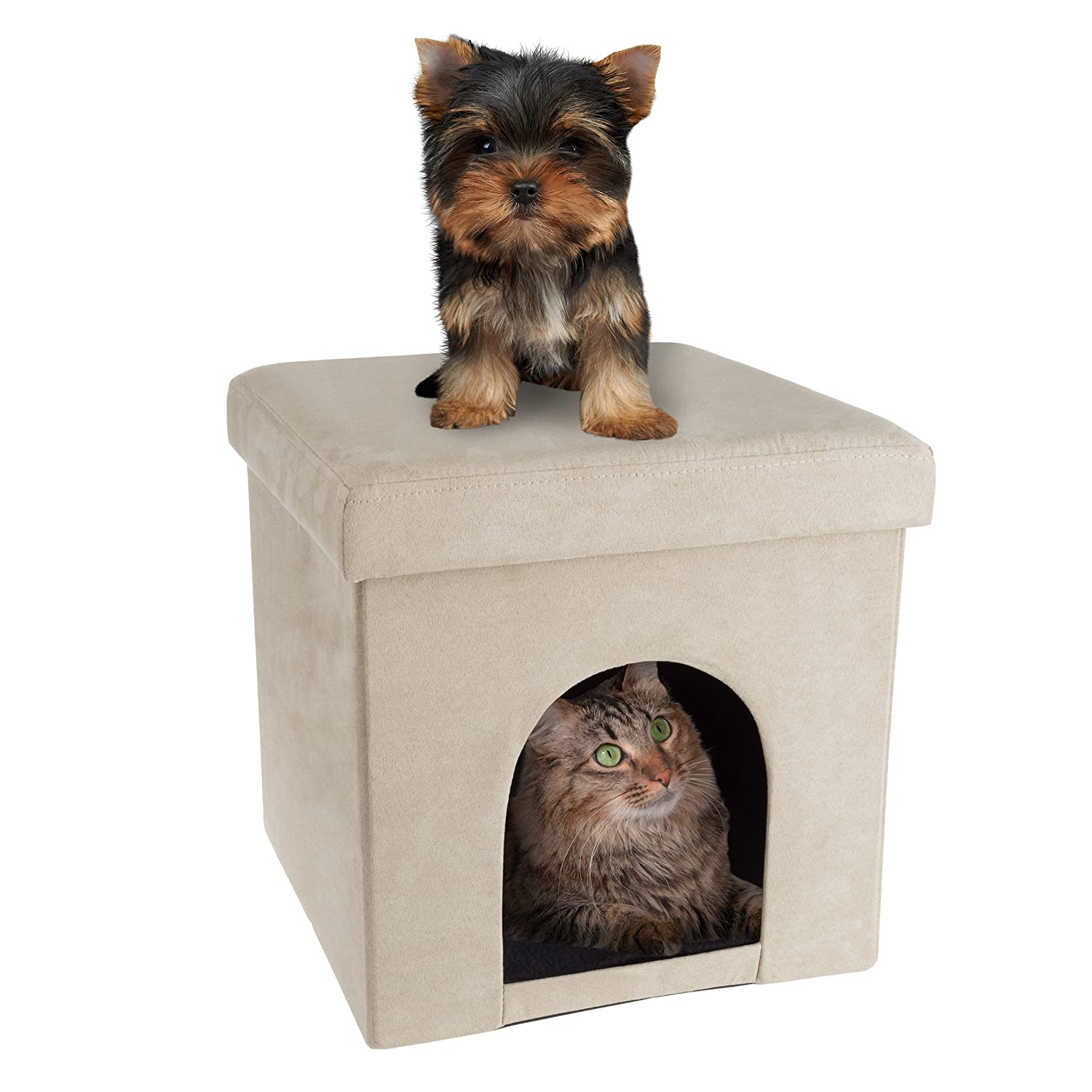 Swell Petmaker Pet House Ottoman Collapsible Multipurpose Cat Or Small Dog Bed Cube And Footrest With Cushion Top And Interior Pillow Inzonedesignstudio Interior Chair Design Inzonedesignstudiocom